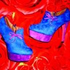 Piękne Fioletowe Botki Różowa Podeszwa Cudne