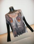 piękna bluzka print sowa