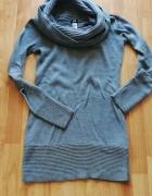 Sukienka tunika ciepła na zimę S szara duży golf HM...