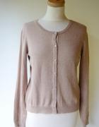 Sweter Brązowy Jasny Brąz H&M Basic M 38 Guziki...