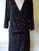 Sukienka Czarna Kwiaty Scarlett&Jo 56 8XL Kopertowa