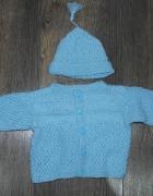 Sweter czapeczka komplet dla noworodka 50 52...