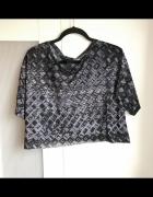 Ciemna lekka bluzka crop top H&M oversize luźna aztec wzory