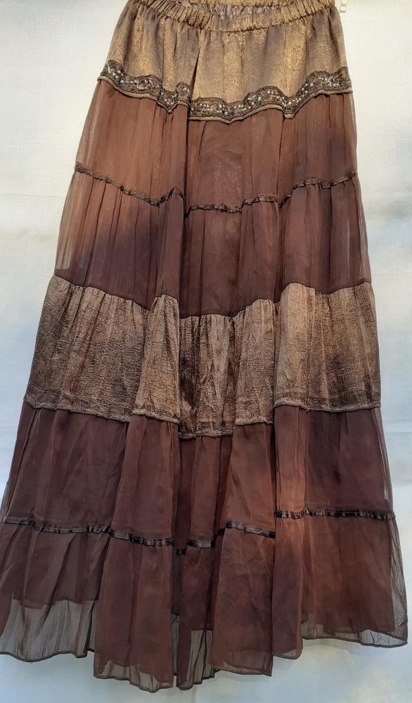 Spódnica Maxi z tiulowymi pasami w brązach