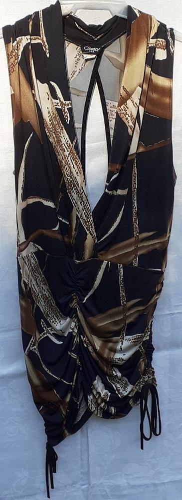 Oryginalna tunika z dużym dekoltem i wiązaniami