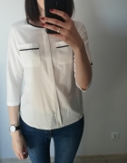 Biała bluzka z czarną lamówką