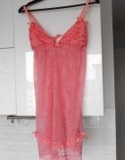 Cubus różowa koszula nocna koronkowa falbanki...