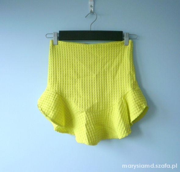 Spódnice Zara nowa limonkowa spódnica z falbanką neonowa