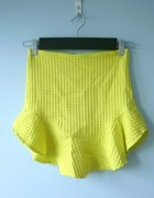 Zara nowa limonkowa spódnica z falbanką neonowa...