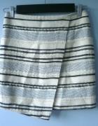 HM spódnica zakładka asymetryczna paski wełna...