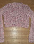 Sweter krótki kolorowy ażurowy pleciony...
