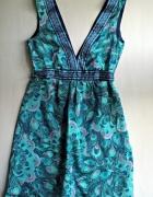 Letnia sukienka w pawie pióra H&M XXS XS...