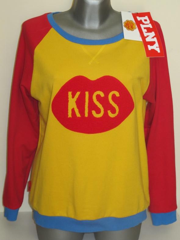 Bluzy PLNY LALA bluza Kiss Raglan Red Yellow Sweatshirt