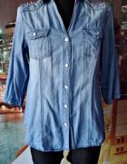 koszula damska jeansowa kolce kryształki hit 40 L...