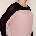 Junarose 42 XL bluzka koszula dwukolorowa pudrowy róż