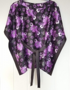 Bluzka kimono Tally Weijl M 38 czarna kwiaty białe fioletowe sa...