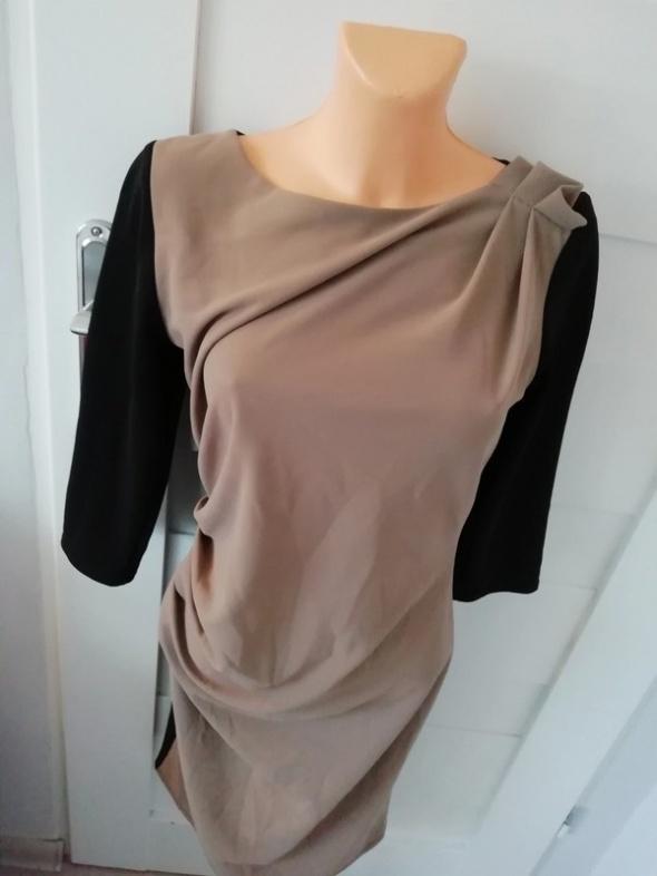 Suknie i sukienki obcisła brązowo czarna sukienka marszczenie S M