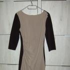 obcisła brązowo czarna sukienka marszczenie S M