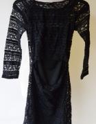 Sukienka Czarna Koronkowa XS 34 Lindex Ołówkowa...