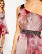 Little Mistress ASOS sukienka jedno ramię kwiatyML...