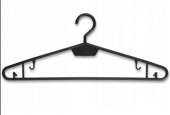 Pozostałe Wieszaki odzieżowe plastikowe czarne nieobrotowe 10 szt