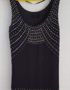 Czarna bluzka H&M 36 S tunika mini sukienka cekiny koraliki By ...