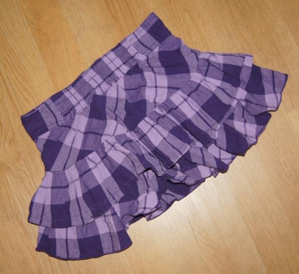 Spódniczka falbanki kratka fiolet zip rozm 110 116
