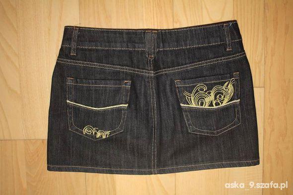 Spódnice Spódnica jeansowa mini ze złotymi przeszyciami