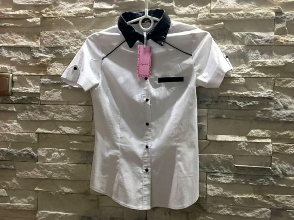 Nowa bluzka elegancka skórka wstawki