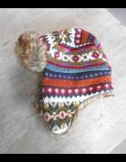 kolorowa czapka pilotka zimowa...