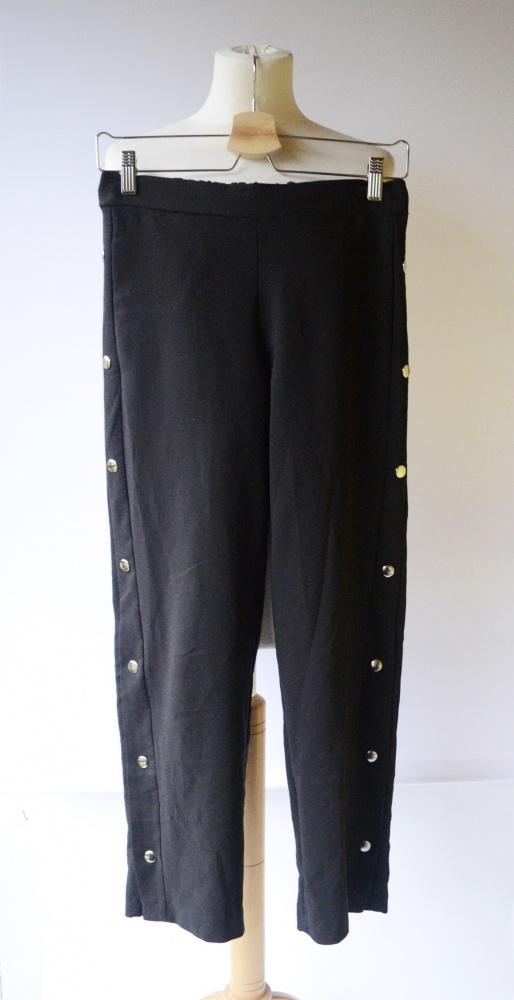 Spodnie Czarne Vero Moda XS 34 Zatrzaski Po Bokach Lampasy...