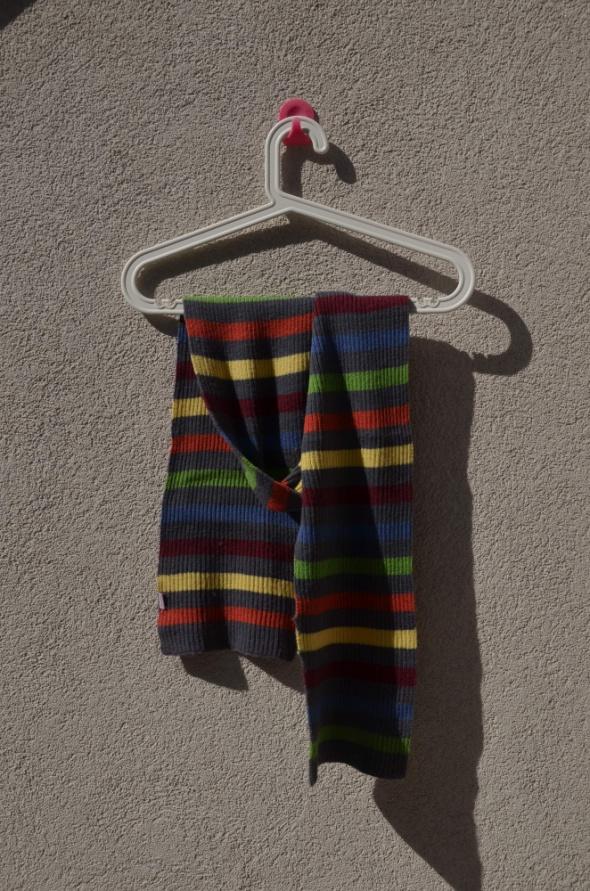 Szaliki i szale SZAL jak nowy szalik w paski szary kolorowy