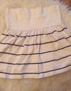 Pull&bear rozkloszowana biała spódniczka spódnica paski pasy ma...