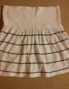 Pull&Bear marynarska biała spódniczka spódnica pas...