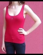 Czerwony top bokserka koszulka bluzka bez nadruku...