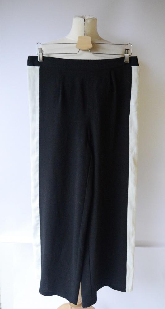 Spodnie Czarne Lampasy Gina Tricot S 36 Proste Nogawki...