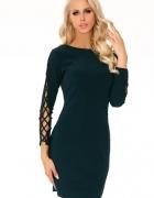 ZIELONA sukienka z efektownymi rękawami S M L XL...