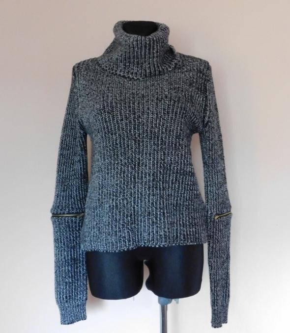 Tally Weijl sweter golf czarny biały 38 40