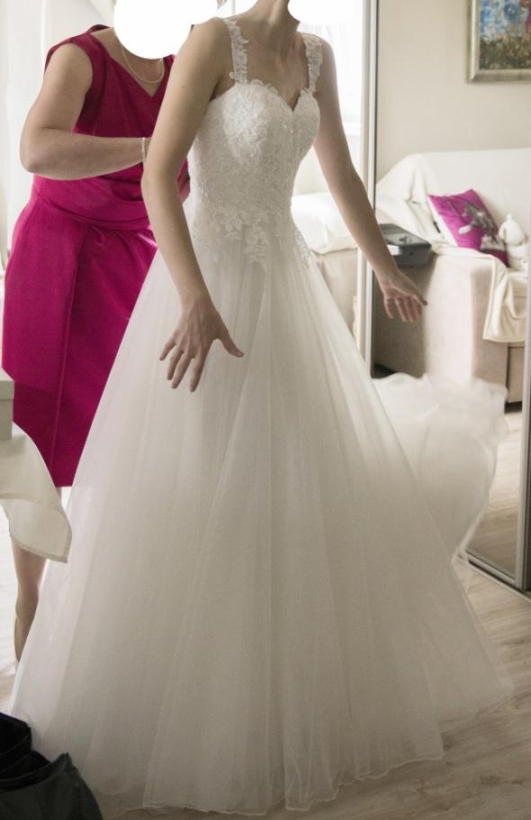 Suknie ślubne suknia ślubna 32 linia A bolerko welon xxs miseczka A75