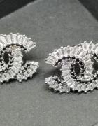 Srebrne kolczyki cc kryształki srebrna igła styl chanel...