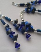 Komplet niebiesko srebrny kwiatki lapis lazuli...