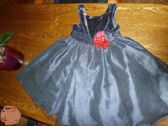 Granatowa suknia tiul z brokatem 116 H&M