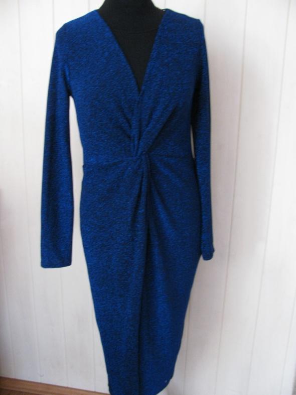 Suknie i sukienki MISS SELFRIDGE NOWA WIECZOROWA SUKIENKA KOBALT Z MIENIĄCĄ NITKĄ 40