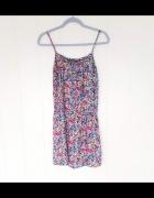 Wiskozowa bluzka tunika L 40 kolorowa kwiaty top lato...