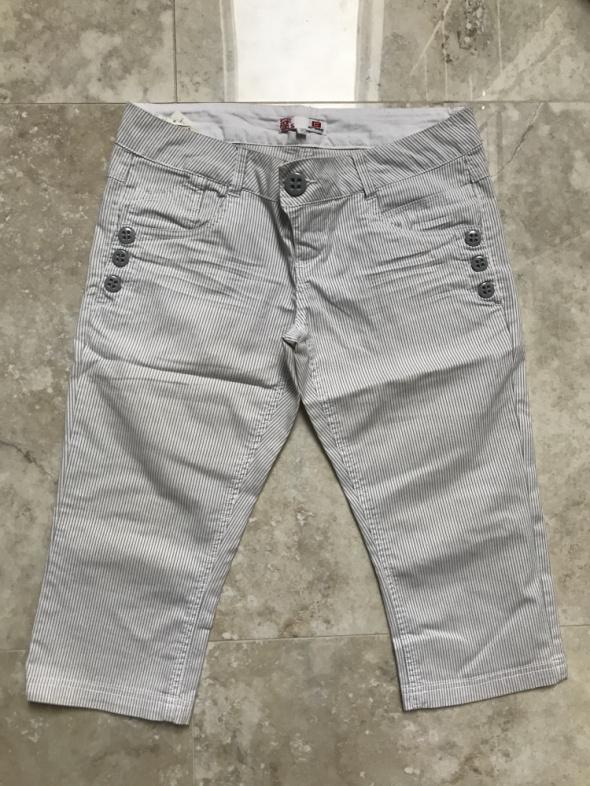 Spodnie w biało niebieskie paski za kolano...