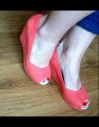malinowe buty na koturnie reserved...