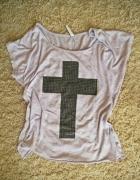 fioletowa liliowa koszulka oversize z nadrukiem M...