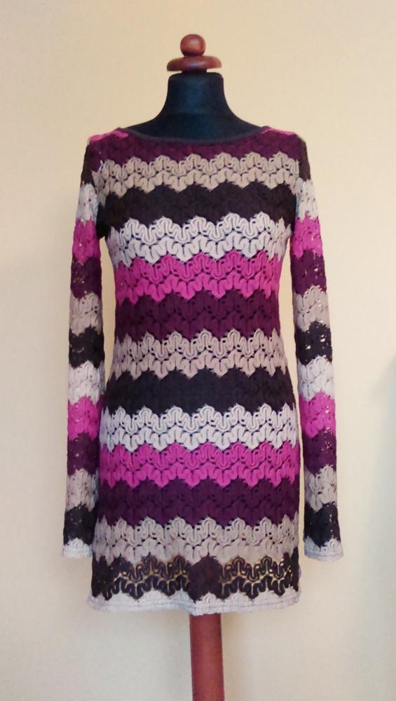 Suknie i sukienki Ażurowa koronkowa sukienka tunika Orsay M