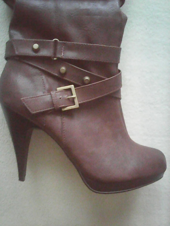 Kozaki Kozaki buty ciemny brąz na obcasie