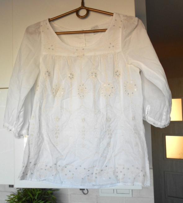 Camaieu biała bluzka hafty cekiny etno